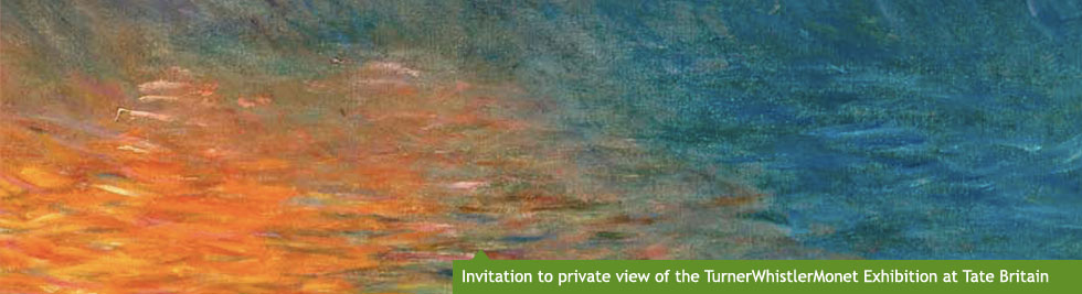 Invitation to a private view of the TurnerWhistlerMonet exhibition at Tate Britain