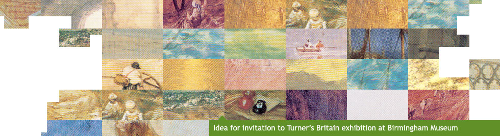 Idea for invitation to Turner's Britain exhibition, the original Brit artist at Birmingham Museum