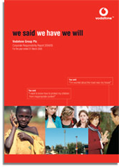 Vodafone Global Corporate responsibility report 2004-05 front cover